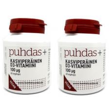 Puhdas+ D-vitamiini kasviperäinen 100mcg tuplapakkaus 2x60kps