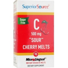 C-Vitamin 500mg *Sour* Cherry Melts 90tbl Superior Source