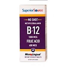 B12 1000mcg+ foolihappo 400mcg 60tabl Superior Source